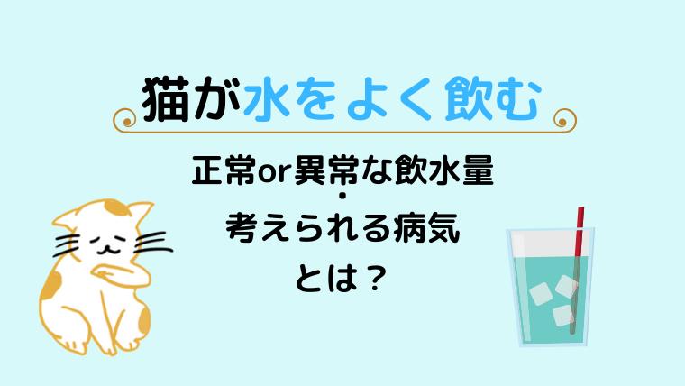 猫が水をよく飲む原因